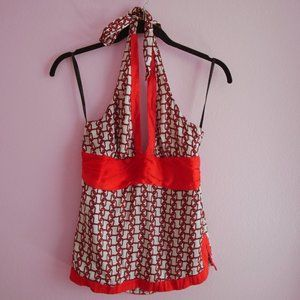 bebe  Chain Linked Silk Halter Top